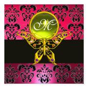 Hyper Butterfly Monogram, Pink Damask,yellow Gem