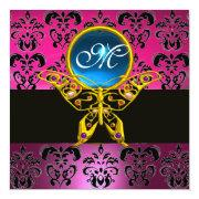 Hyper Butterfly Monogram,pink Purple Damask Blue