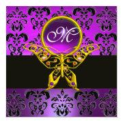 HYPER BUTTERFLY MONOGRAM,purple damask,amethyst Custom Invite