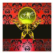 Hyper Butterfly Monogram,red Damask, Yellow Gem