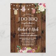 I Do Bbq Couples Shower Jars Lights Wood Floral Invitation