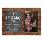 I Do Bbq Couple's Shower Party Wood Chalk Photo Invitation