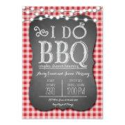 I Do Bbq Red Gingham Couples Shower In Chalk Invitations