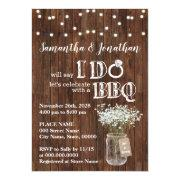 I Do Bbq Wedding Shower Bridal's Breath Rustic Invitation