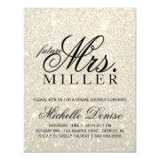 Invite - White Gold Glitter Fab Future Mrs. Bridal