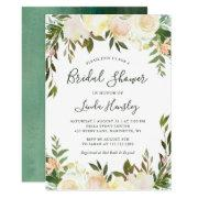 Ivory Chic Floral Garden Greenery Bridal Shower Invitations
