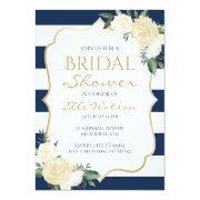 Ivory Floral Bridal Shower Invitation, Wedding Invitation