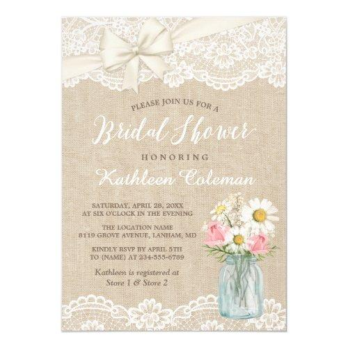 Ivory Lace Burlap Mason Jar Floral Bridal Shower