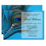 Jewel Peacock Feather Bridal Shower Invitations
