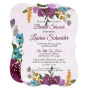 Jewel Tone Bridal Shower Invitations Watercolor