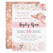 Kentucky Derby Big Hat Rose Gold Bridal Shower Invitation