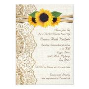 Lace & Sunflowers On Burlap Wedding Bridal Shower