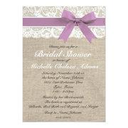 Lavender Lace Burlap Bridal Shower Invitation