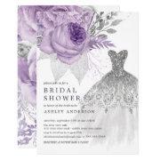 Lavender Silver Floral Wedding Dress Bridal Shower Invitation