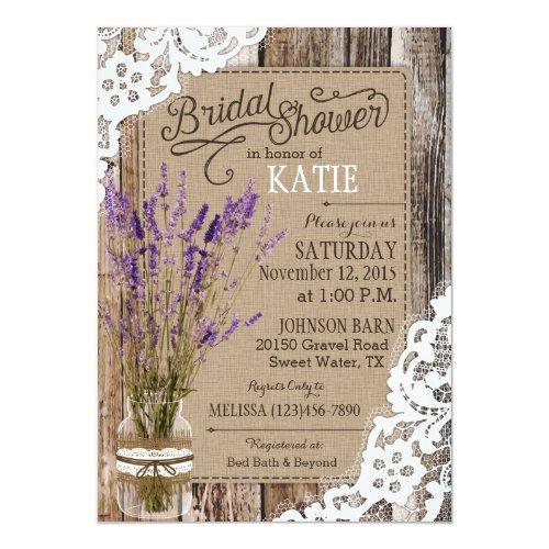 Lavender Wood Lace Rustic Bridal Shower