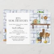Let's Stock The Kitchen Watercolor Bridal Shower Invitation