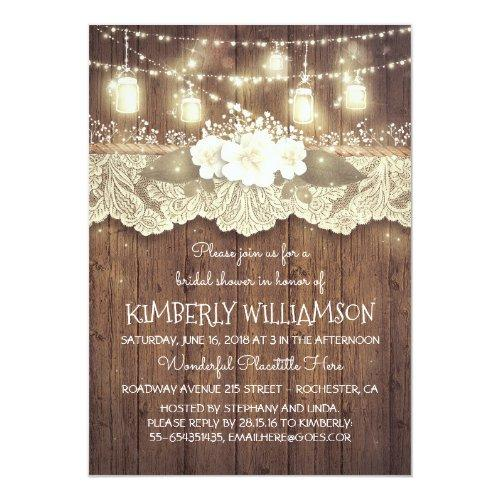 Lights Mason Jars Lace Wood Rustic Bridal Shower