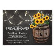 Lights Rustic Vineyard Sunflower Bridal Shower Invitation