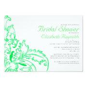 Lime Green Flourish Bridal Shower Invitations Invitation