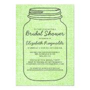 Lime Green Rustic Mason Jar Bridal Shower Invites