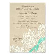 Linen White Lace Aqua Ribbon Bridal Shower