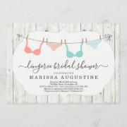 Lingerie Bridal Shower Party - Rustic Clothesline Invitation
