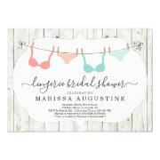 Lingerie Bridal Shower Party - Rustic Clothesline Invitation