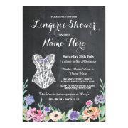 Lingerie Shower Bridal Party Chalk Floral Invite