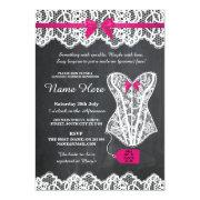 Lingerie Shower Bridal Party Chalk Lace Bow Invite