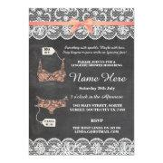 Lingerie Shower Bridal Party Coral Lace Invite