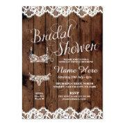 Lingerie Shower Bridal Party Wood Bow Lace Invite