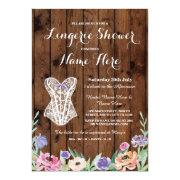 Lingerie Shower Bridal Party Wood Floral Invite