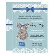 Lingerie Shower Bridal Silver Blue Glitter Invite