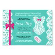 Lingerie Shower Invite Teal Pink Bridal Party Lace