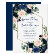 Love Bloom   Chic Blush Navy Floral Bridal Shower Invitation