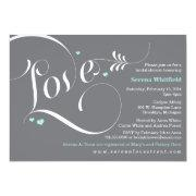 Love Bridal Shower Invitation, Tiffany Blue & Grey