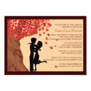 Love Couple Falling Hearts Oak Tree Bridal Shower Personalized Announcements