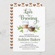 Love Is Brewing Coffee Cup Bridal Shower Invitation