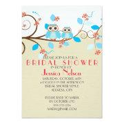 Love Owl Branches Wood Damask Bridal Shower