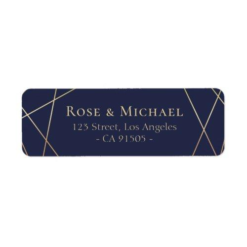 Lovely Geometric Navy Address Label