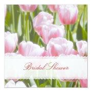 Lovely Pink Tulips Bridal Shower Invitation