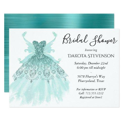 Luxe Fairy Wing Gown   Mint Green Bridal Shower Invitation