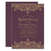 Luxury Elegant Gold Lace Plum Purple Bridal Shower