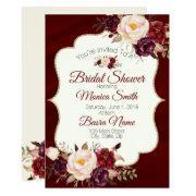 Marsala Burgandy Watercolor Floral Bridal Shower