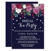 Marsala & Burgundy Floral On Navy Bridal Tea Party
