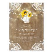 Mason Jar And Sunflowers Rustic Bridal Shower Invitation
