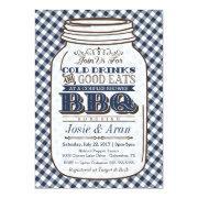Mason Jar Bbq Invitation, Couples Shower Navy Blue