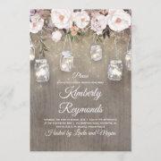 Mason Jar Lights Floral Rustic Bridal Shower Invitation