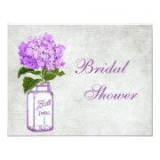 Mason Jar & Purple Hydrangea Grey Bridal Shower