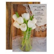 Mason Jar White Tulips Country Barn Bridal Shower